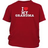 """I Love"" Grandma Youth T-Shirt Gift for Grandma"