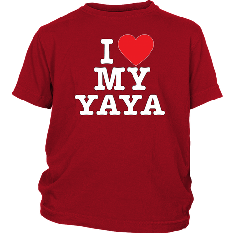 """I Love"" Yaya Youth T-Shirt Gift for Yaya"