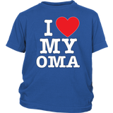 """I Love"" Oma Youth T-Shirt Gift for Grandmother"
