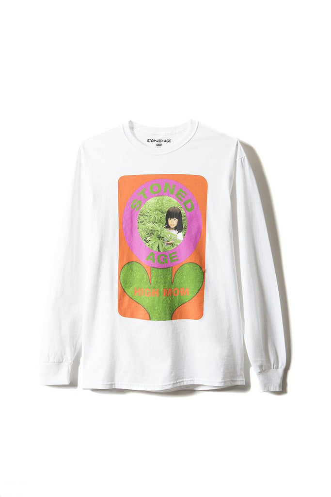 HIGH MOM Long Sleeve Tee Shirt - White
