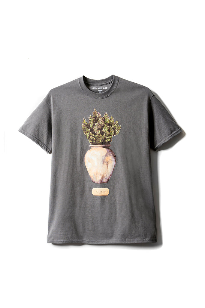 STONED AGE | POTHEAD Short Sleeve Tee Shirt - Charcoal (front)