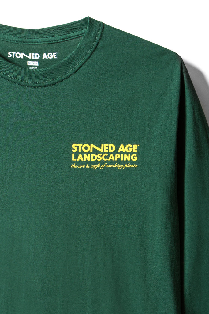 STONED AGE | THE COMPANY Long Sleeve Tee Shirt - Green (close up)