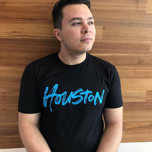 Brush Script Houston Unisex crew-nk tee
