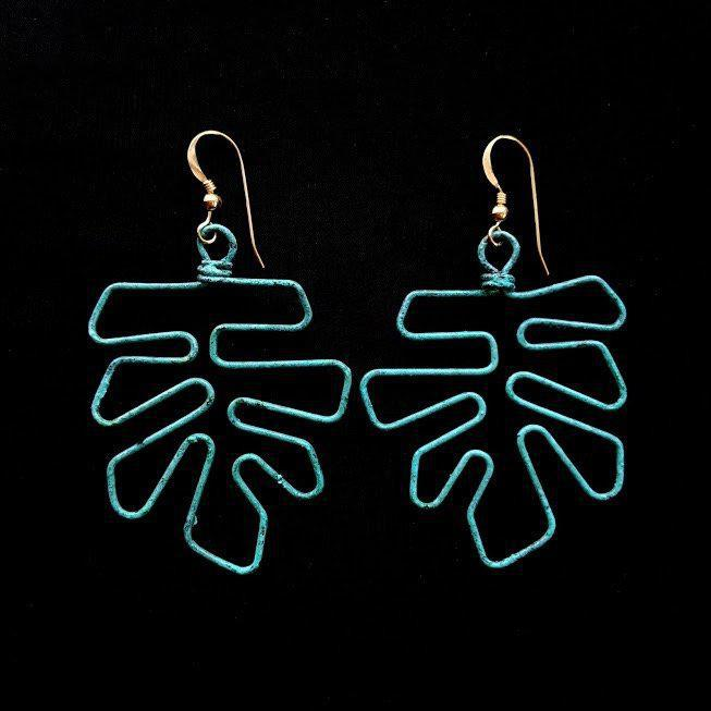 Tropical Leaf Wire Earrings