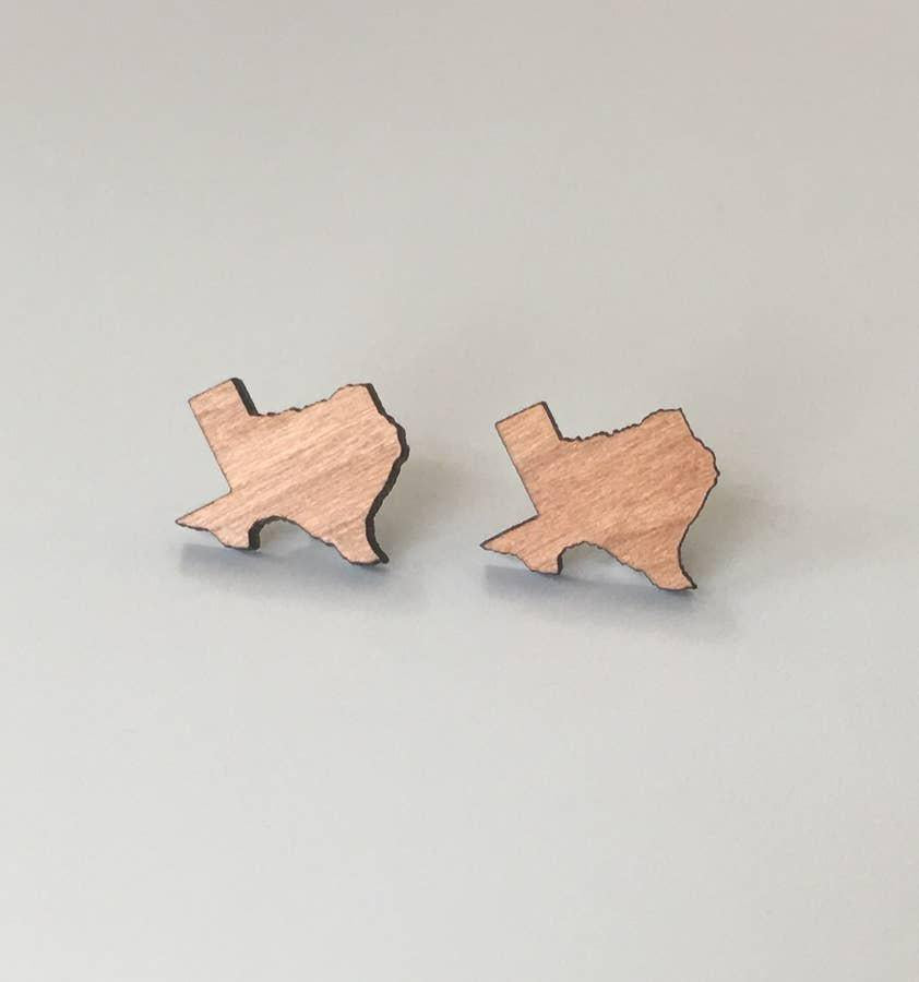 Texas Wood Stud Earrings