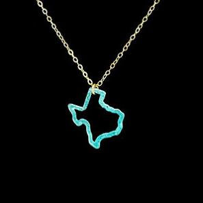 Texas Outline Necklace - Turqoise Patina