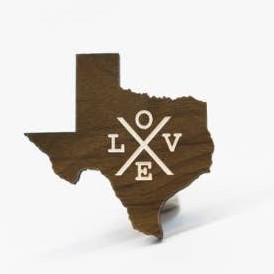 Texas Love Wood Magnet