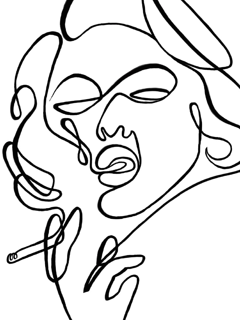 project-nord-line-art-smoking-lady-poster-closeup