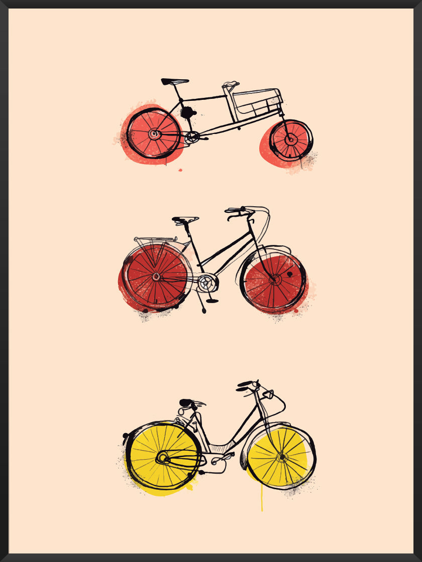 Canary Bike - Colourful Bikes Poster