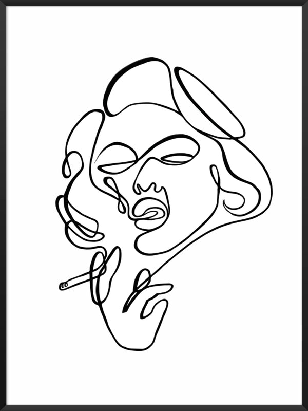 project-nord-line-art-smoking-lady-poster-product-picture