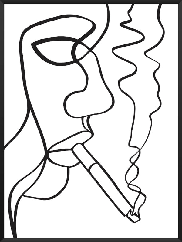 project-nord-smoking-woman-line-art-poster-product-picture