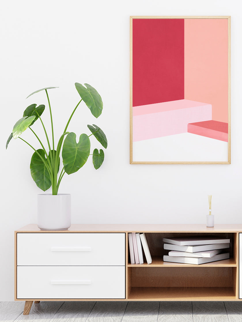 project-nord-the-pink-abstract-poster-in-interior-hallway