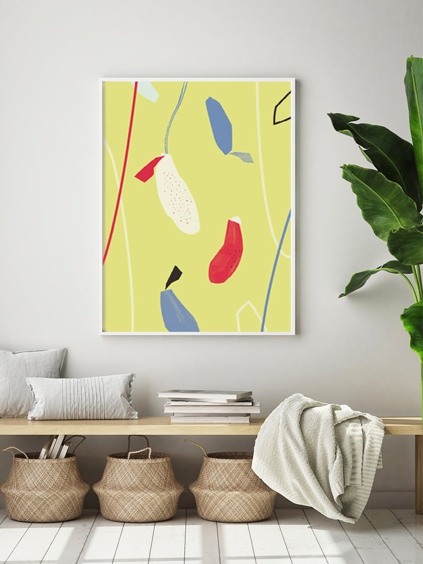 hanging-flowers-yellow-abstract-flowers-poster-in-interior-hallway