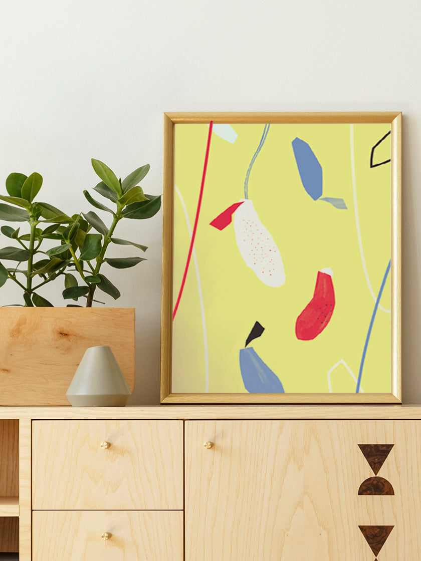 hanging-flowers-yellow-abstract-flowers-poster-in-interior