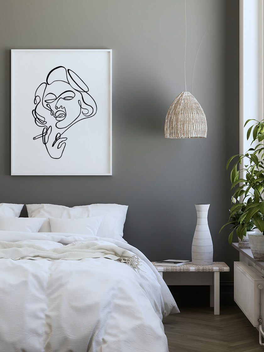 project-nord-line-art-smoking-lady-poster-in-interior-bedroom