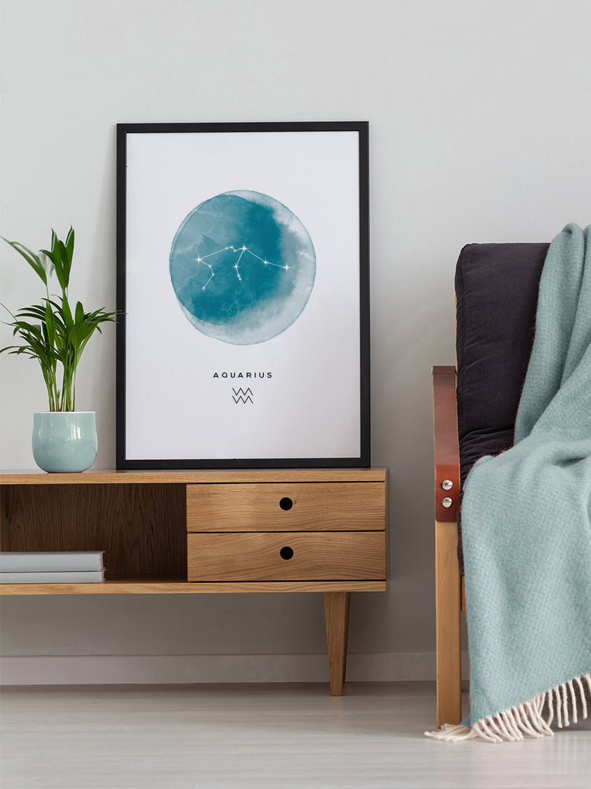 Aquarius Watercolour- Aquarius Zodiac Sign Poster