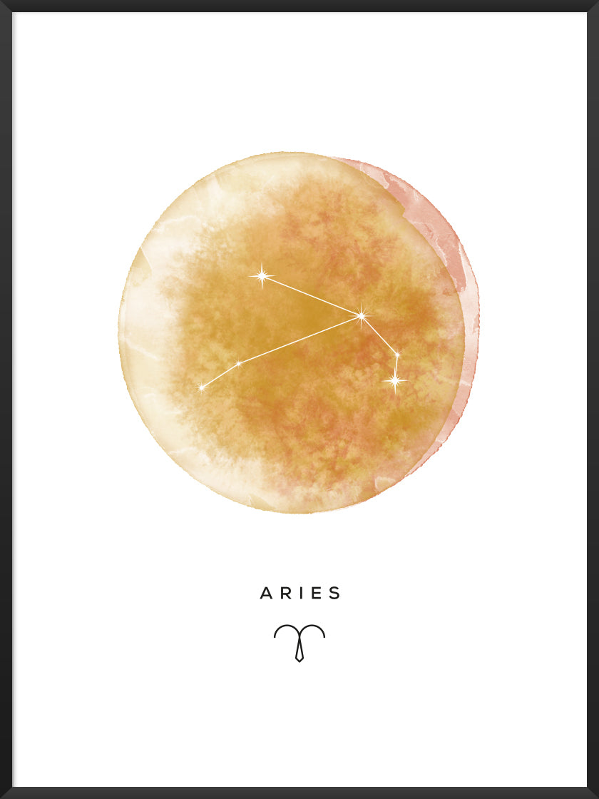 Aries Watercolour - Aries Zodiac Sign Poster