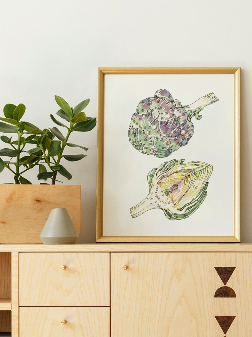 vintage-hand-painted-artichoke-poster-in-interior