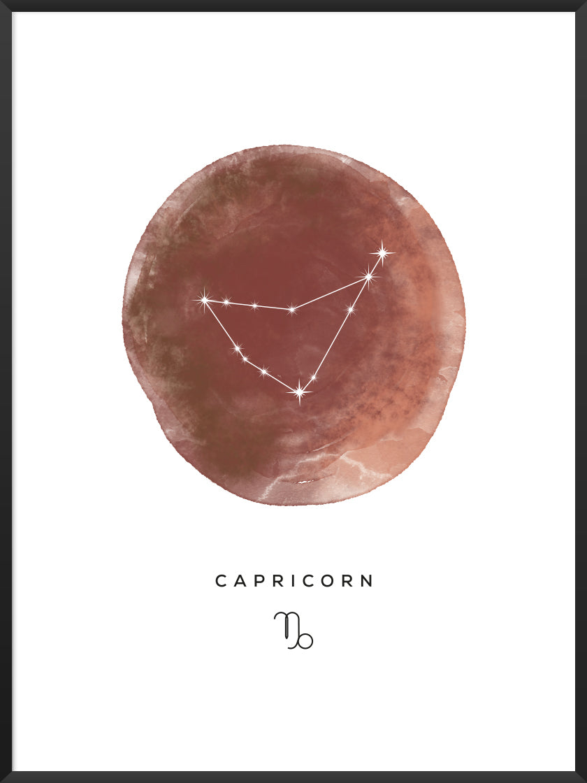 Capricorn Watercolour - Capricorn Zodiac Sign Poster