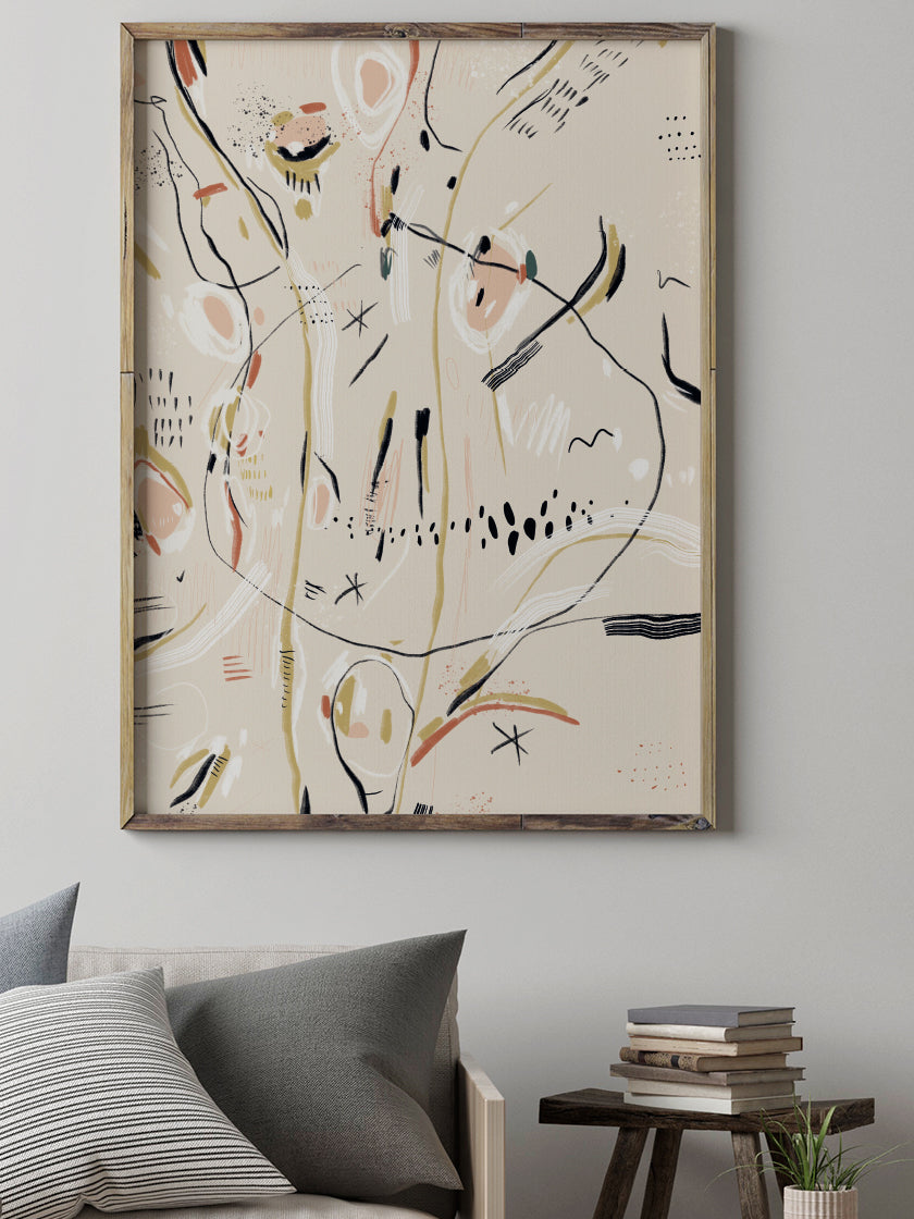 Cold Sea - Beige Abstract Motifs Poster