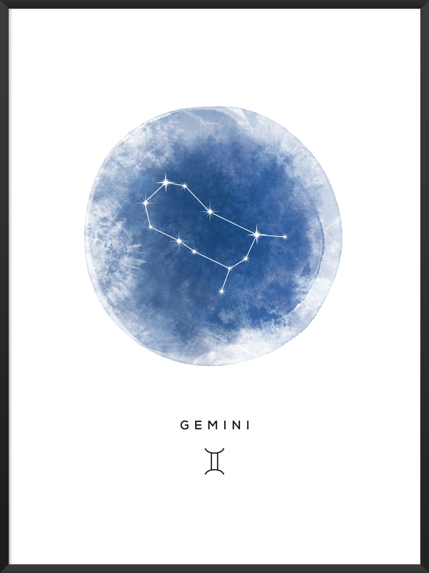 Gemini Watercolour - Gemini Zodiac Sign Poster
