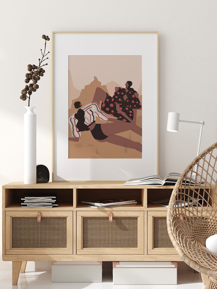 girls,-picnic-in-the-desert-poster-in-interior-hallway