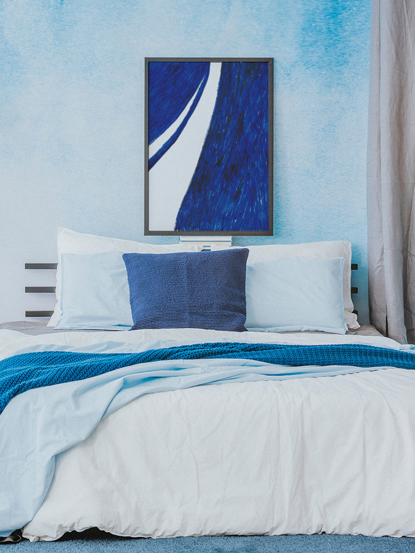 project-nord-la-rue-blue-watercolour-poster-in-interior-bedroom