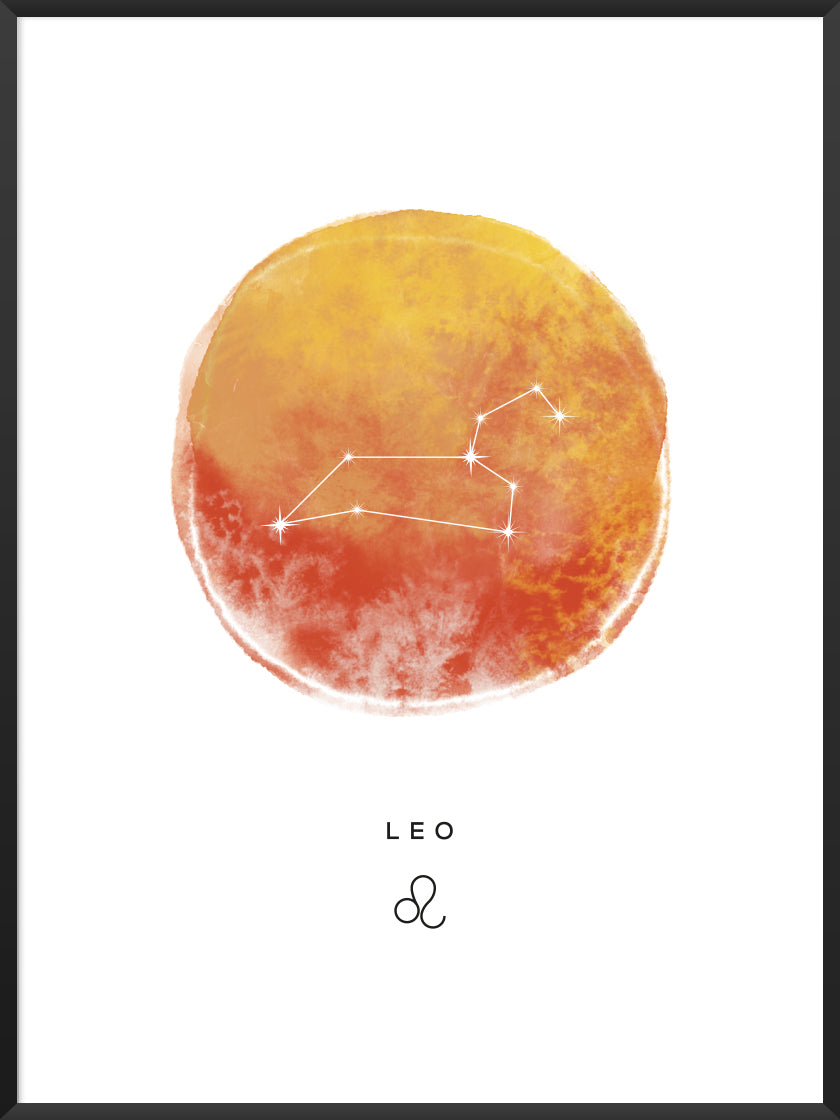 Leo Watercolour - Leo Zodiac Sign Poster