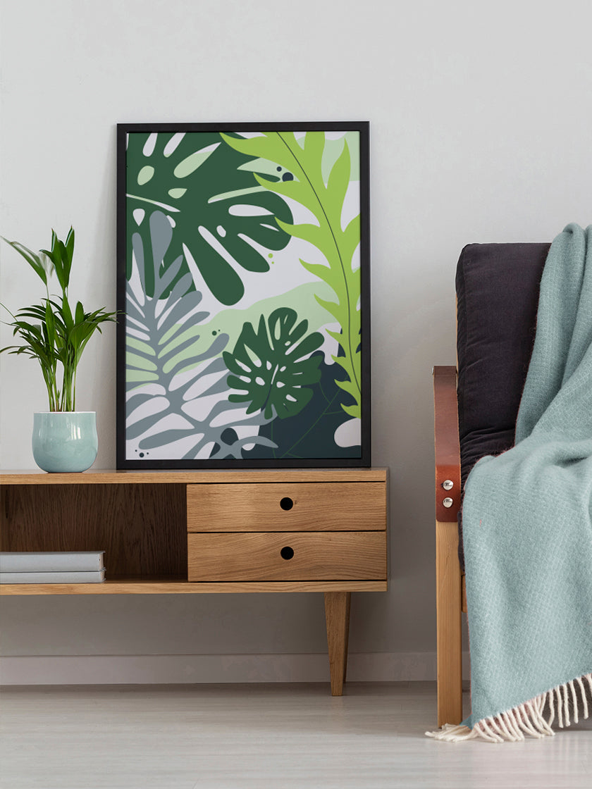 project-nord-tropical-leaves-poster-in-interior-living-room