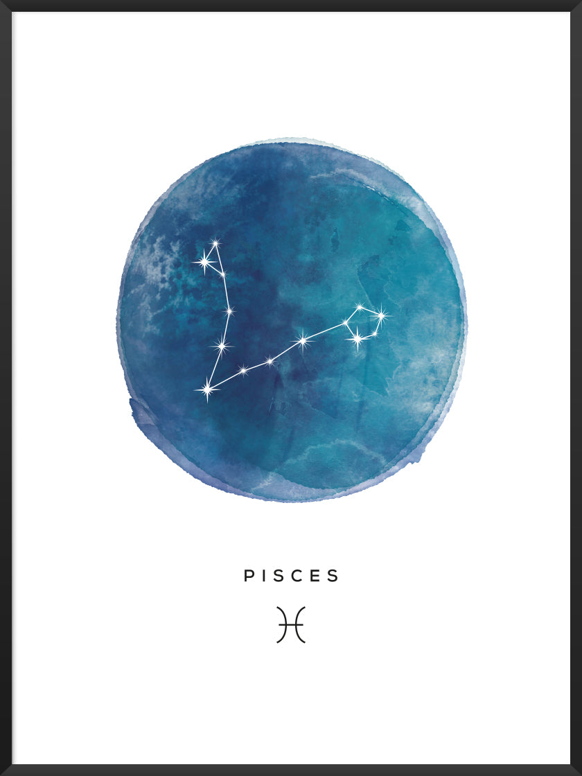 Pisces Watercolour - Pisces Zodiac Sign Poster