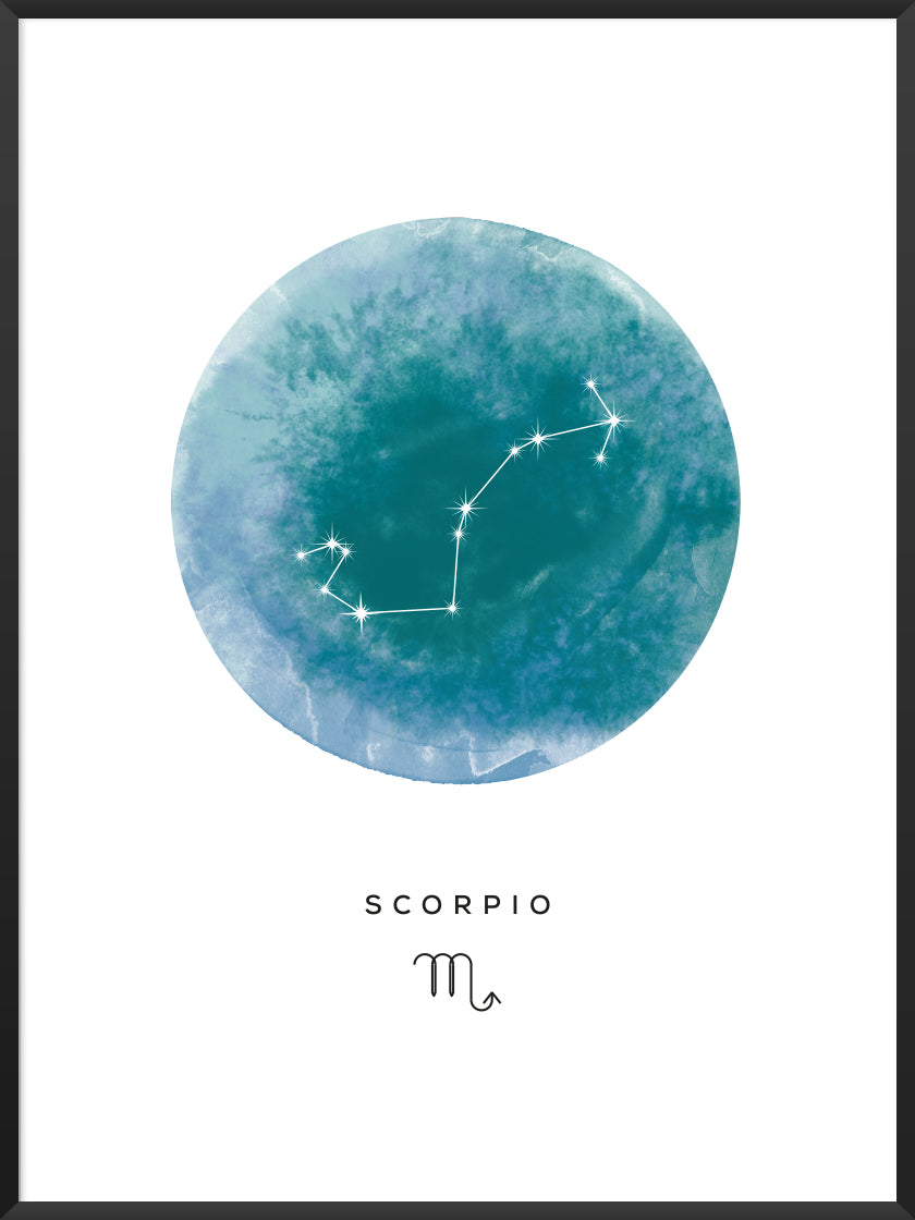 Scorpio Watercolour - Scorpio Zodiac Sign Poster