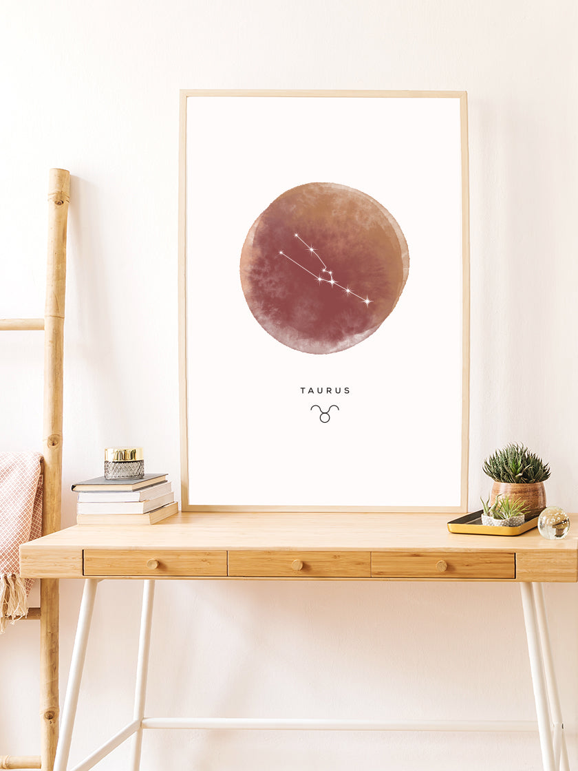 Taurus Watercolour - Taurus Zodiac Sign Poster