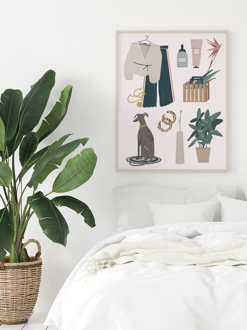 fashion-accessories-poster-in-interior-bedroom