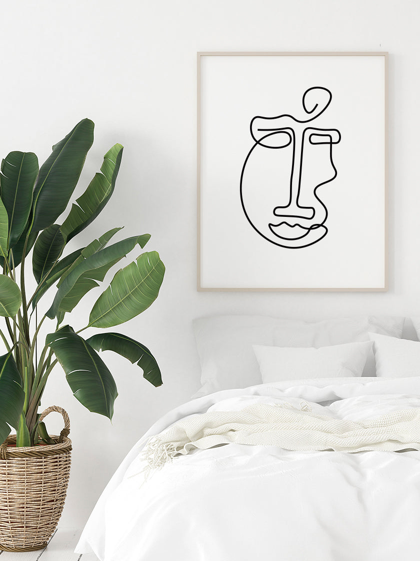 abstract-face-line-art-poster-in-a-bedroom