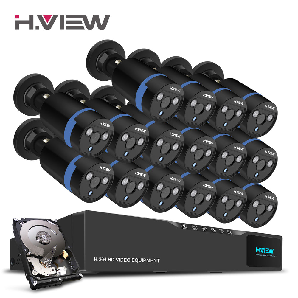H.View 16CH Surveillance System 16 1080P Outdoor Security Camera 16CH CCTV DVR 1TB HDD Kit Video Surveillance Easy Remote View