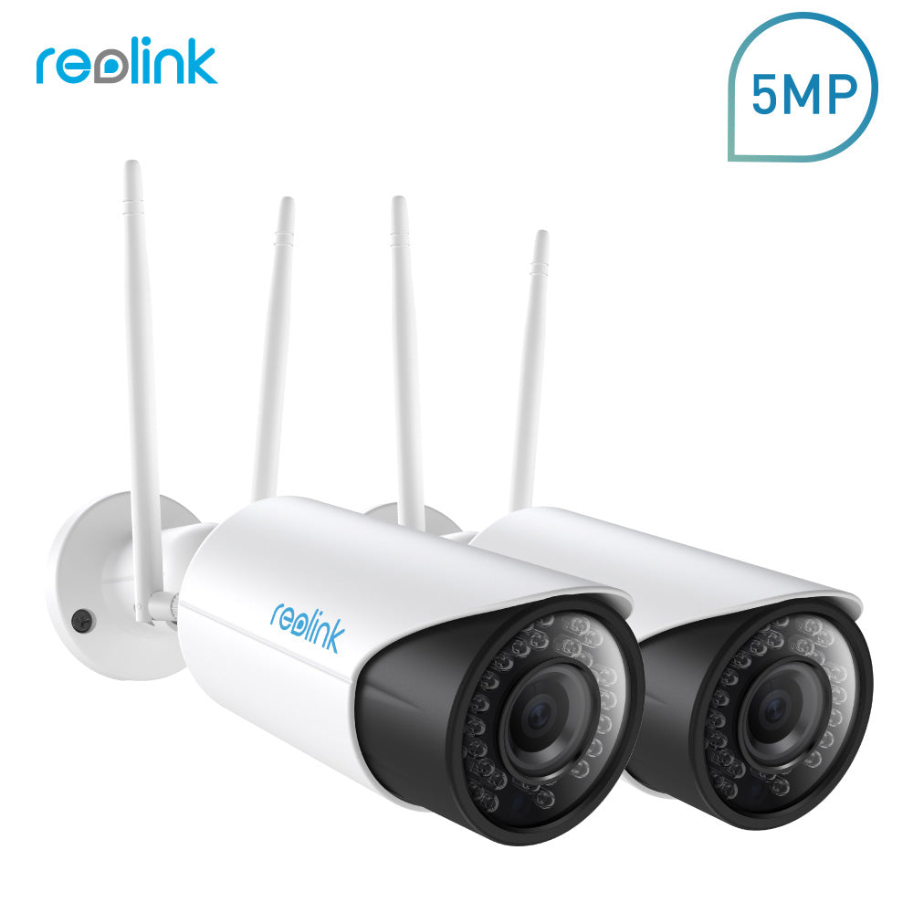 Reolink Security WiFi IP Camera 2.4G/5G 5MP HD 4x Zoom Built-in 16GB Micro SD Card (2 cam pack)