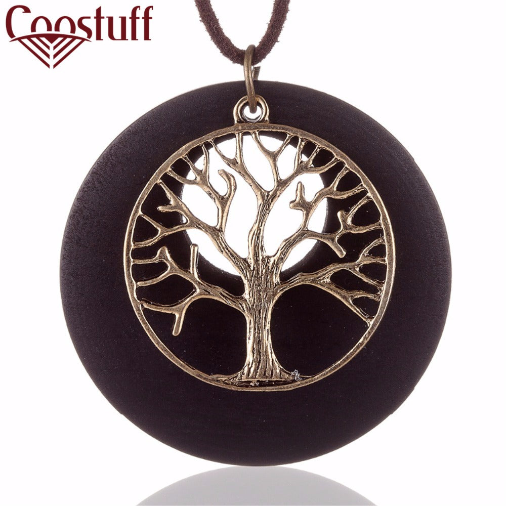 Vintage wooden tree pendant necklace lilypiescharms vintage wooden tree pendant necklace aloadofball Choice Image