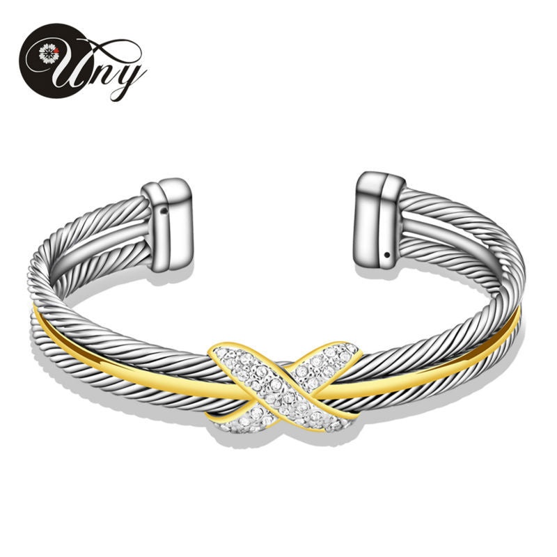 bangles women cuff steel gold rose silver item cable fashion men plated thick bracelet stainless wire twisted