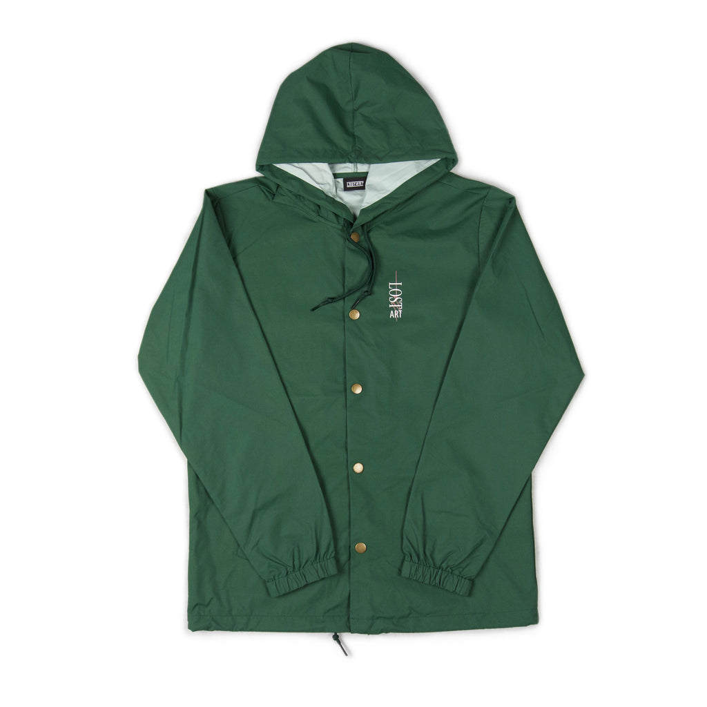 Danger Hooded Coach Jacket </br>Forest Green