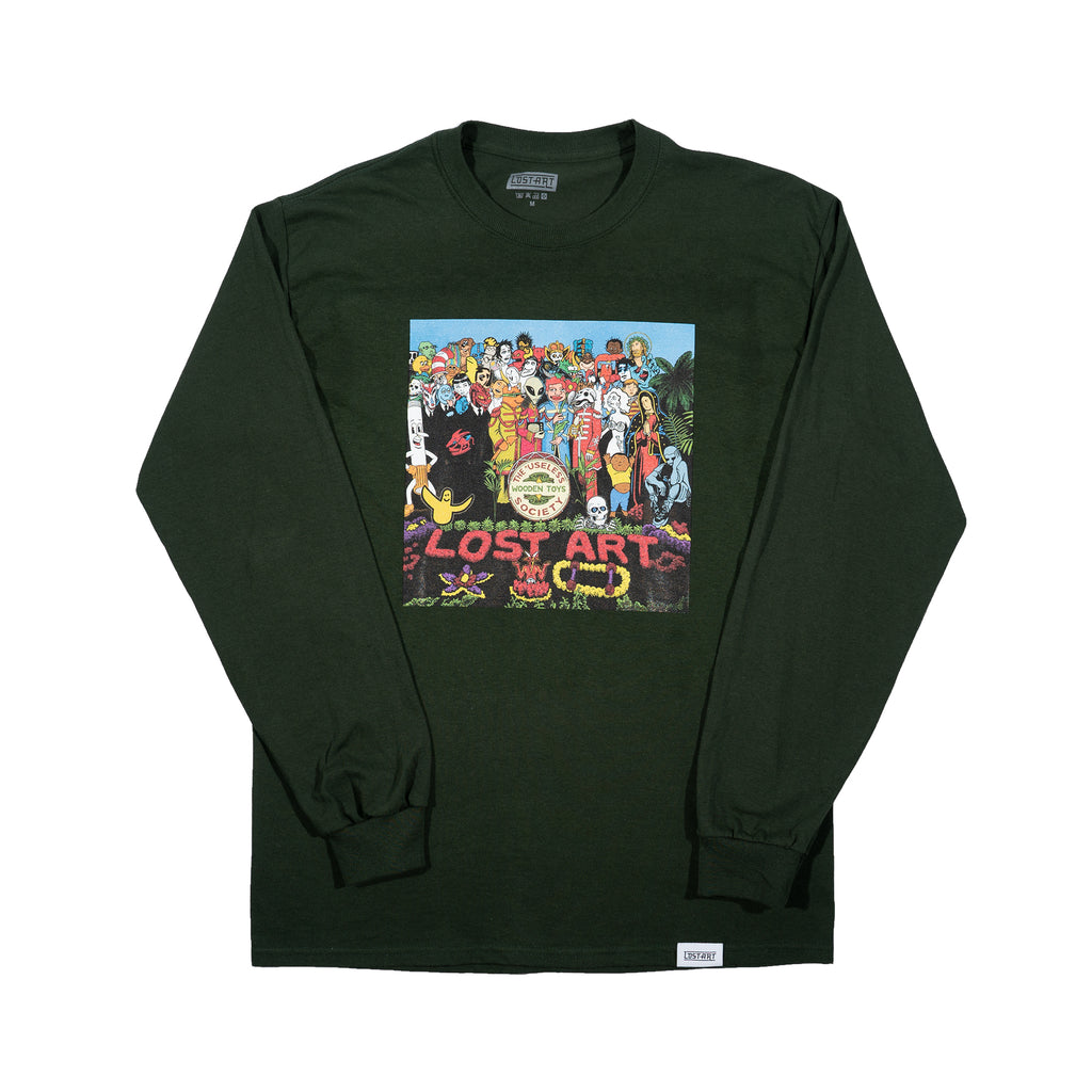 Lost Art -</br>Relax with Pepper L/S Tee </br> Forest Green