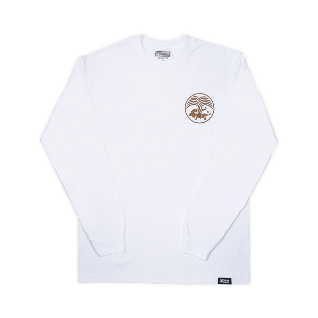 Lost Art -</br>Nimes Tee L/S </br> White/Black Flock