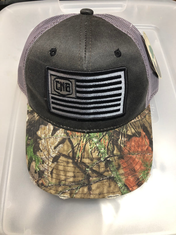 Caught Not Bought Camo Brim Flag Hat