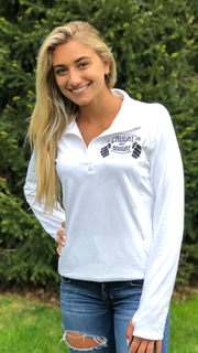 Ladies White 1/4 Zip Logo Sport Pullover