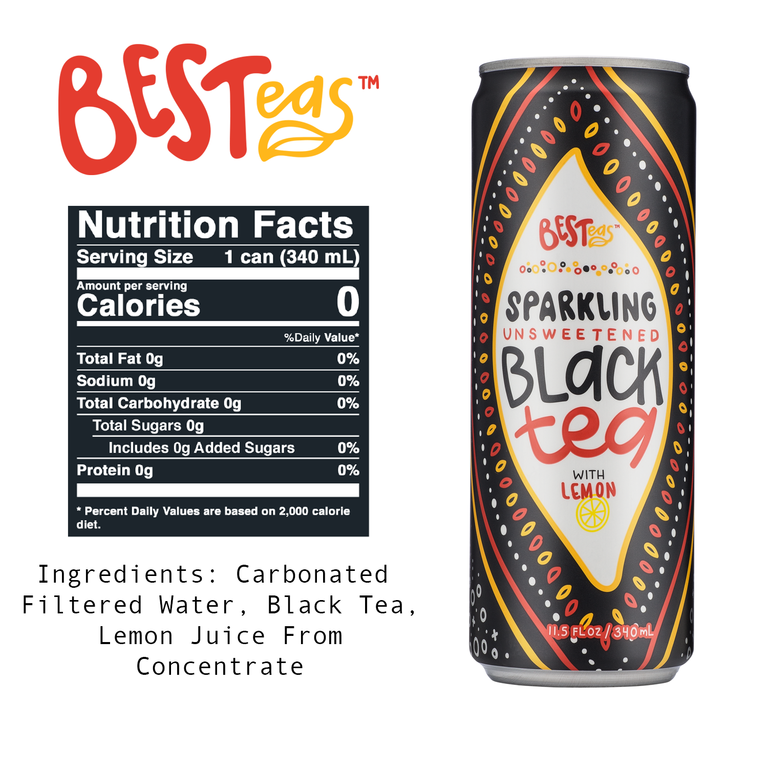 BESTeas Sparkling Unsweetened Black Tea + Lemon 24 Pack (11.5 fl oz cans)