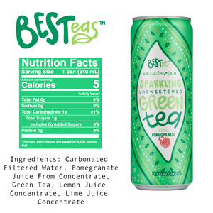 BESTeas Sparkling Unsweetened Green Tea + Pomegranate 24 pack (11.5 fl oz cans)