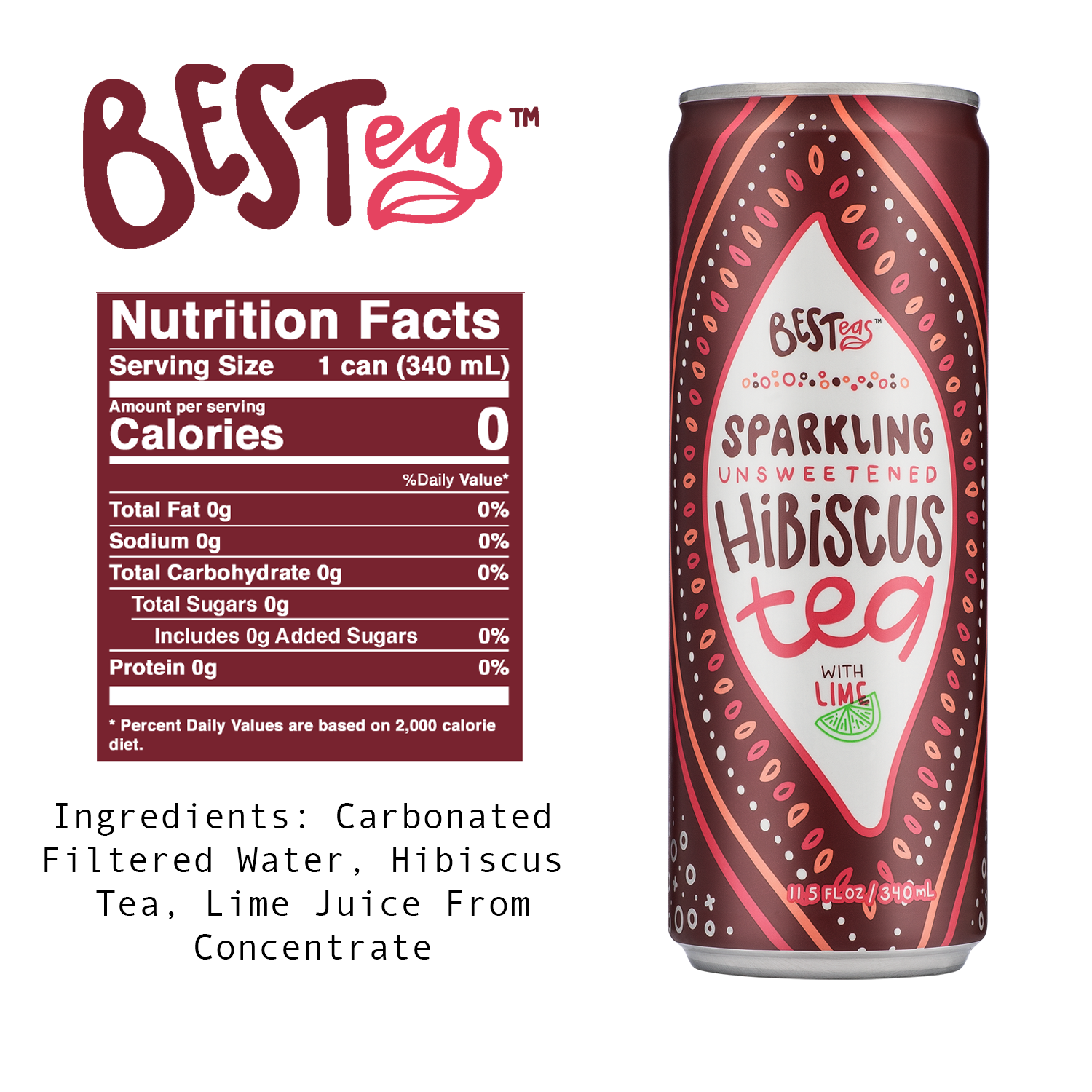 BESTeas Sparkling Unsweetened Hibiscus Tea + Lime 24 Pack (11.5 fl oz cans)