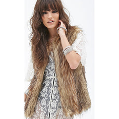 Brown Bohemian Sleeveless Shag Faux Fur Vest