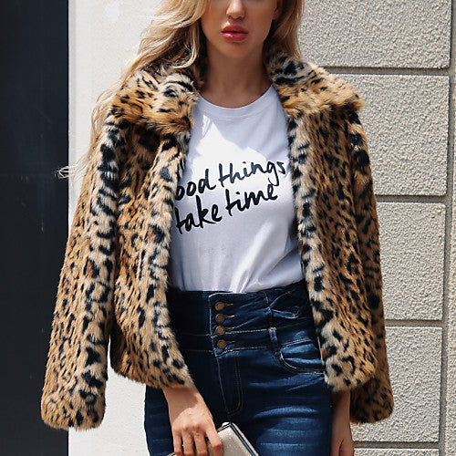 Cheetah Animal Print Faux Fur Coat