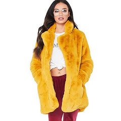 Vibrant Golden Yellow Faux Fur Coat