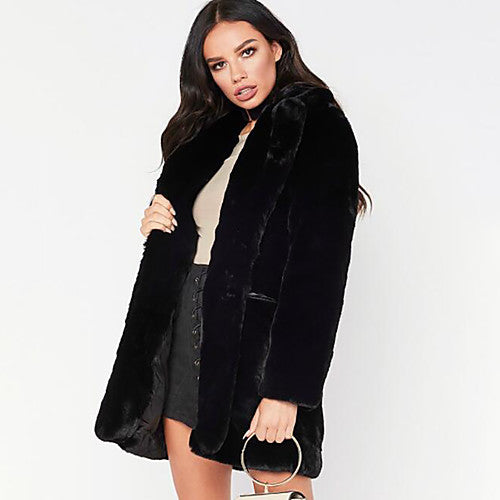 Jet Black Faux Fur Coat